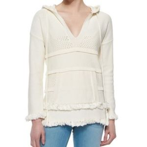 Tory Burch Hooded Baja Cotton Tunic Sweater Ivory